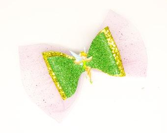 Tinkerbell Glitter Tulle Hair Bow