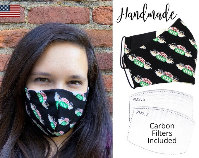 Central Perk Friends Cotton Fabric Face Mask with adjustable elastic tie, for Adult Men Women & children, handmade with carbon filer pocket