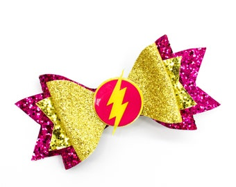 Pink The Flash DC Comics Justice League Inspired Superhero Gold Chunky Glitter Hair Bow