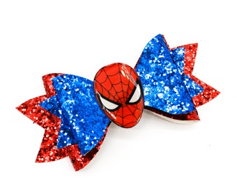 Spiderman Marvel Comics Superhero Avengers Inspired Blue and Red Chunky Glitter Hair Bow