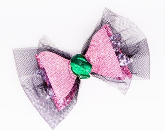 Audrey Disney Inspired Descendants 3 Fine Glitter and Tulle Hair Bow