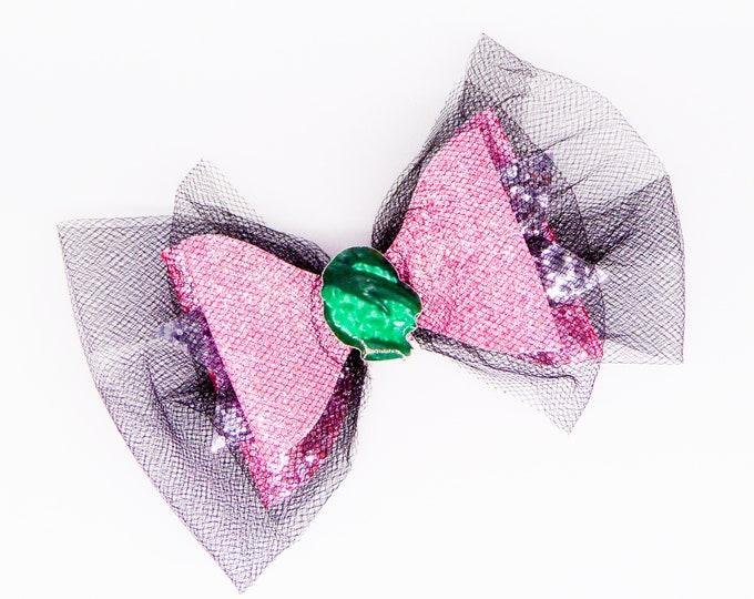 Audrey Disney Inspired Descendants 3 Fine Glitter and Tulle Hair Bow