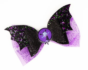 Vampirina Disney Inspired Purple Bat Chunky Glitter and Tulle Hair Bow