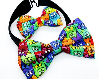 Colorful Cats Pattern Fabric Bowties for baby, newborn, kids, and adults, matching girls hair bows