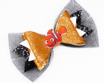 Nemo Finding Dori Disney Movie Inspired Orange Glitter and Tulle Hair Bow