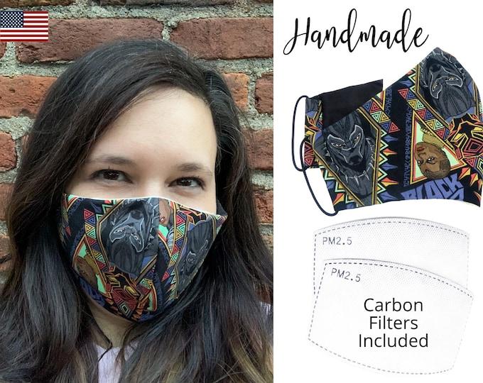 Black Panther Avengers Cotton Fabric Face Mask  adjustable elastic tie, for Adult Men Women & children, handmade with carbon filter pocket