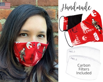 Star Wars Rey Red Fitted Fabric Face Mask with adjustable elastic tie, for Adult Men Women and children, handmade with carbon filter pocket