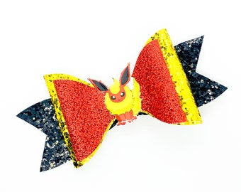 Flareon Eevee Evolution Pokemon Nintendo Trading Card Game Inspired Red Chunky Glitter Leather Hair Bow