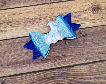 Nokk Frozen 2 Disney Inspired Horse Blue Glitter and Leather Hair Bow