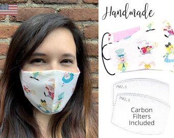 Alice in Wonderland Cotton Fabric Face Mask with adjustable elastic tie, for Men Women and children, handmade with carbon filter included