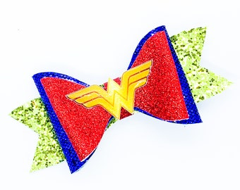 Wonder Woman DC Comics Supehero Inspired Logo Chunky Glitter Hair Bow in Red and Blue