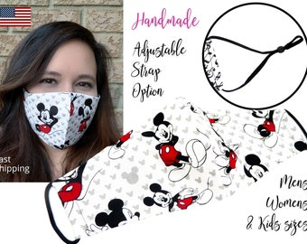 Mickey Mouse Cotton Fabric Face Mask with adjustable elastic tie, for Men Women and children, handmade and reusable, carbon filter included