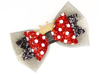 Minnie Mouse With Crown Polka Dot Disney Inspired Chunky Glitter and Tulle Hair Bow