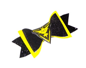 Team Instinct Pokemon Go Nintendo Inspired Yellow Chunky Glitter Hair Bow