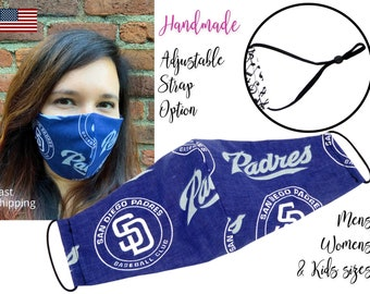 San Diego Padres Baseball Fitted Fabric Face Mask & elastic tie, for Adult Men Women and children, handmade with carbon filter pocket