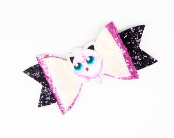 Jigglypuff Pokemon Glitter Hair Bow