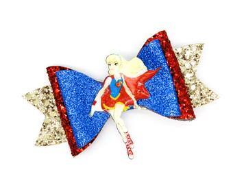 Supergirl DC Super Hero Girls Inspired Chunky Red and Blue Glitter Hair Bow Superhero