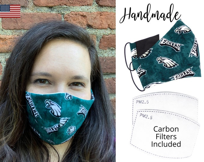 Philadelphia Eagles Cotton Fabric Face Mask with elastic tie, for Adult Men Women and children, handmade and washable, carbon filter pocket