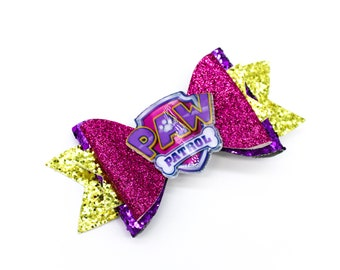 Paw Patrol Inspired Pink and Purple Chunky Glitter Hair Bow