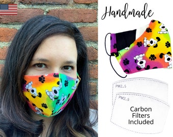Rainbow Dog Bone Cotton Fabric Face Mask with adjustable elastic tie, for Adult Men Women and children, handmade with carbon filter pocket