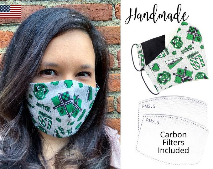 Harry Potter Slytherin House Cotton Fabric Face Mask with adjustable elastic tie, for Adult Men Women & children, handmade filter pocket