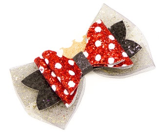 Minnie Mouse Glitter Hair Bow