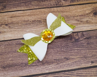 Golden Snitch Harry Potter Inspired Gold and White Glitter Hair Bow with wings