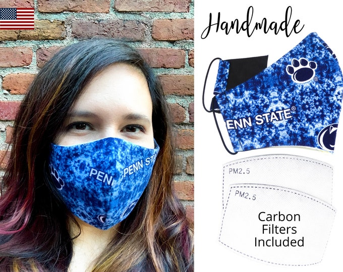 Penn State University Cotton Fabric Face Mask with elastic tie, for Adult Men Women & children, handmade with carbon filter pocket