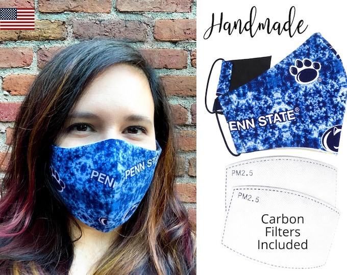 Penn State University Cotton Fabric Face Mask with adjustable elastic tie, for Adult Men Women & children, handmade carbon filter pocket