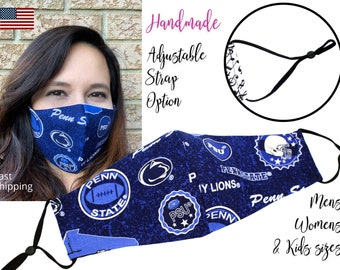 Penn State University Fitted Fabric Face Mask with adjustable elastic tie, for Adult Men Women & children, handmade carbon filter pocket