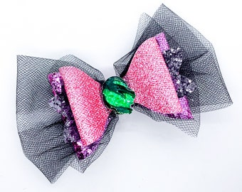 Audrey Disney Inspired Descendants 3 Glitter Hair Bow