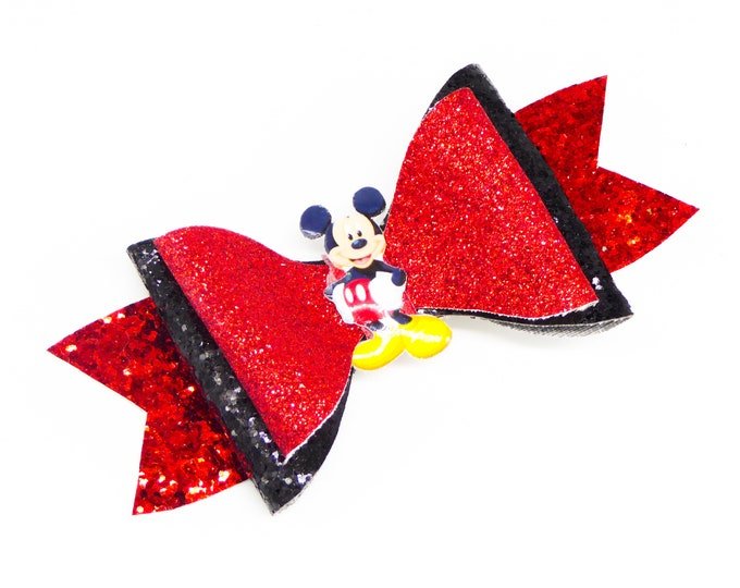 Mickey Mouse Glitter Hair Bow