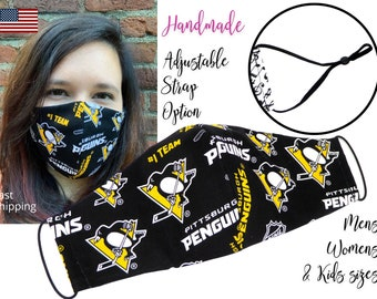 Pittsburgh Penguins Fitted Hockey NHL Fabric Face Mask with adjustable ear tie, for Adult Men Women & children, handmade with filter pocket
