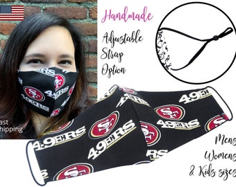 San Francisco 49ers Football Fitted Fabric Face Mask with elastic tie, for Adult Men Women and children, handmade with carbon filter pocket