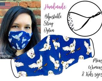 Harry Potter Hedwig Owl Cotton Fabric Face Mask adjustable elastic tie, for Adult Men Women & children, handmade with carbon filter pocket