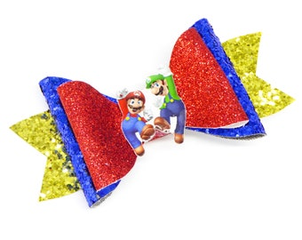 Mario and Luigi Super Mario Kart Nintendo Inspired Gaming Glitter Hair Bow