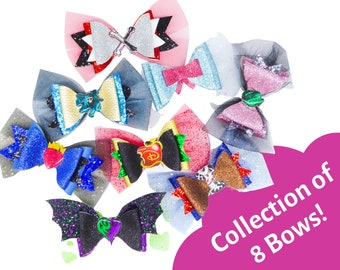 Set of 8 Descendants 3 Bows Disney Inspired Mal, Uma, Audrey, Evie, Carlos, Jane & Jay Chunky Glitter and Tulle Hair Bows