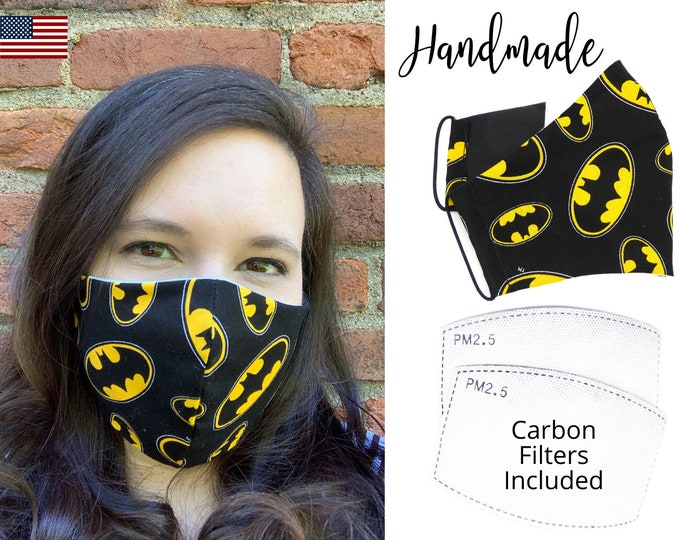 Batman Symbol Black and Yellow Cotton Fabric Face Mask with elastic tie, for Adult Men Women & children, handmade with carbon filter pocket