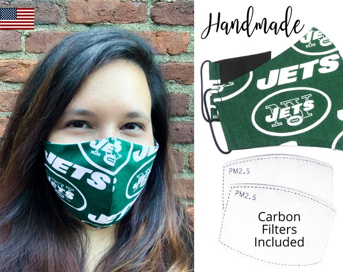 New York Jets Cotton Fabric Face Mask with elastic tie, for Adult Men Women and children, handmade and washable, carbon filter pocket