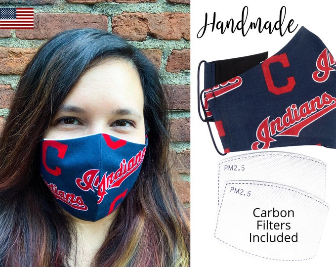 Cleveland Indians Baseball Cotton Fabric Face Mask & elastic tie, for Adult Men Women and children, handmade with carbon filter pocket