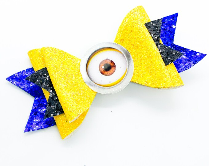 Yellow Minion Dispicable Me Glitter Hair Bow
