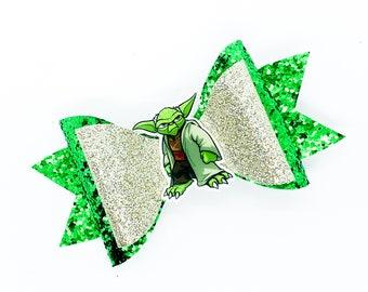 Yoda Star Wars Inspired Glitter Fabric Hair Bow
