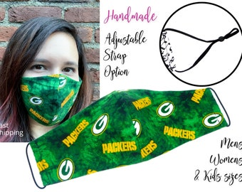 Green Bay Packers Fitted Fabric Football Face Mask with adjustable elastic tie for Adult Men Women & children, handmade carbon filter pocket