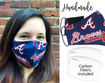 Atlanta Braves Baseball Cotton Fabric Face Mask & elastic tie, for Adult Men Women and children, handmade with carbon filter pocket