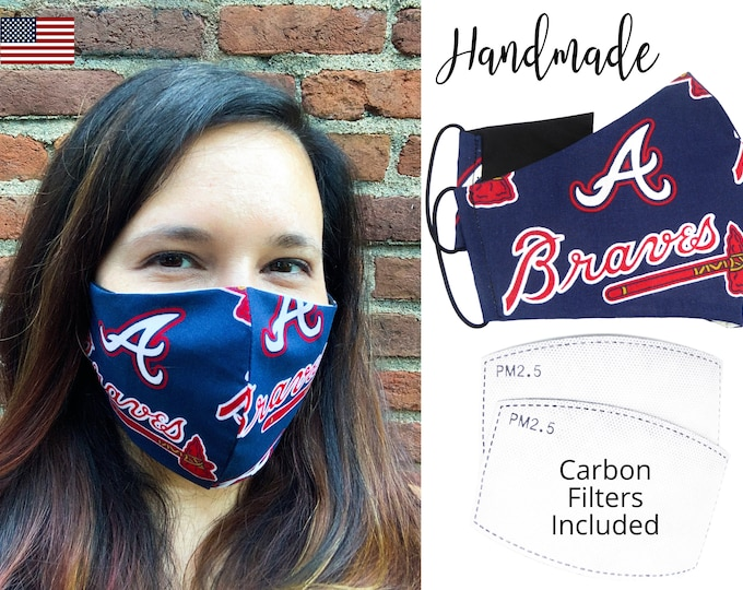 Atlanta Braves Baseball Cotton Fabric Face Mask adjustable elastic tie, for Adult Men Women and children, handmade with carbon filter pocket