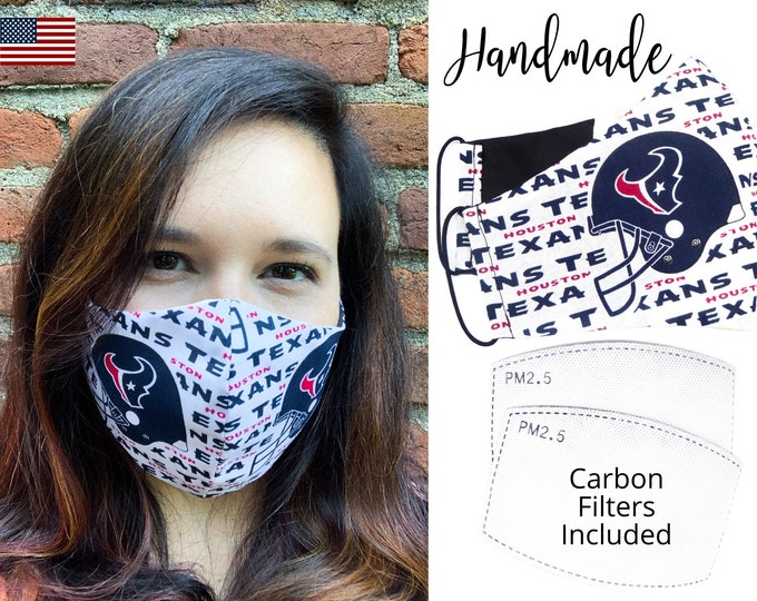 Houston Texans Cotton Fabric Football Face Mask with elastic tie, for Adult Men Women and children, handmade with carbon filter pocket