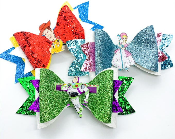 Set of Toy Story Bo Peep, Woody, and Buzz Lightyear Glitter Hair Bows