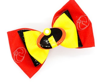 The Incredibles Disney Inspired Cotton Fabric Glitter Hair Red Fabric Bow Set