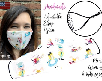 Alice in Wonderland Fitted Fabric Face Mask with adjustable elastic tie, for Men Women and children, handmade with carbon filter included
