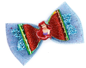 Red Mermaid Princess Chunky Glitter and Tulle Hair Bow